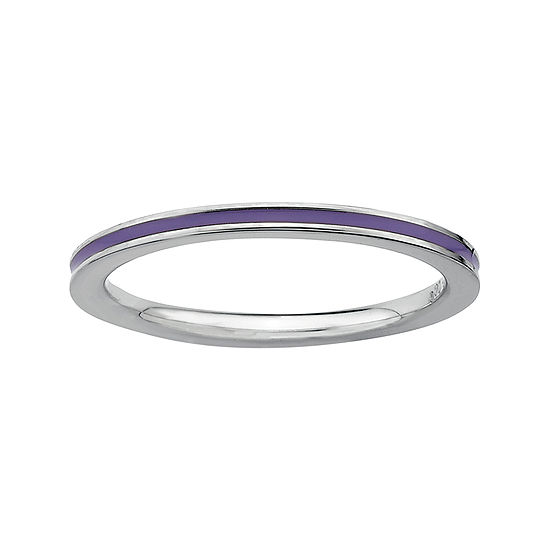 Personally Stackable Sterling Silver Purple Enamel Stackable Ring