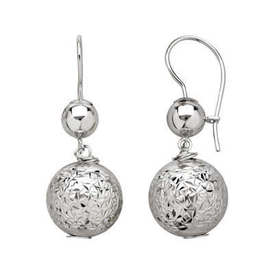 Infinite Gold™ 14K White Gold Bead Drop Earrings