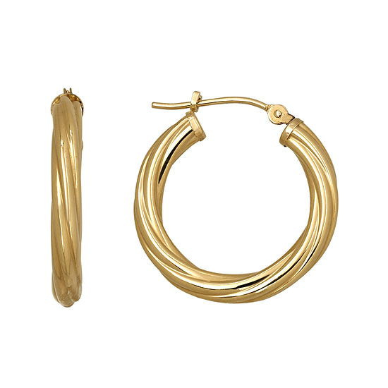 Infinite Gold™ 14K Yellow Gold Twist Hoop Earrings