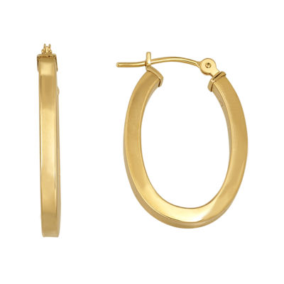 Infinite Gold™ 14K Yellow Gold Square-Edge Oval Hoop Earrings
