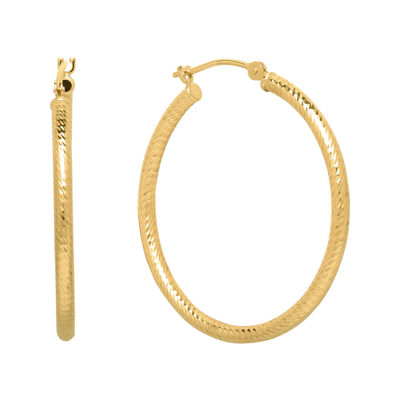 Infinite Gold™ 14K Yellow Gold Diamond-Cut Hoop Earrings