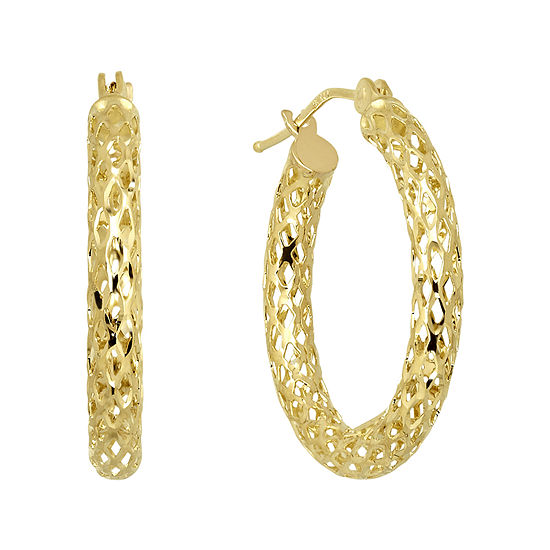 Infinite Gold 14k Yellow Mesh Hoop Earrings
