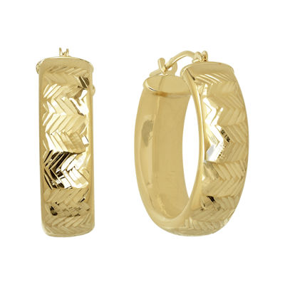 Infinite Gold™ 14K Yellow Gold Chevron-Textured Hoop Earrings