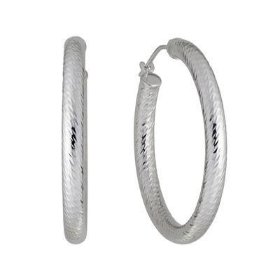 Infinite Gold™ 14K White Gold Diamond-Cut Hoop Earrings