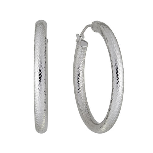Infinite Gold™ 14K White Gold Diamond-Cut Hoop Earrings