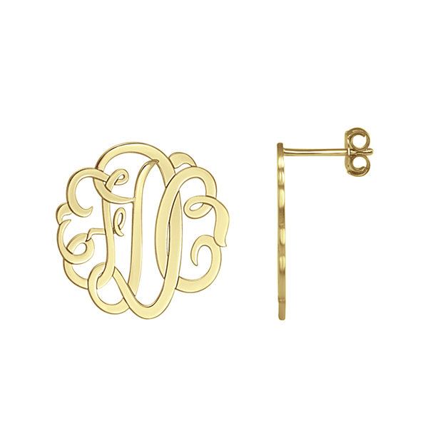 over silver gold personalized p pdp earrings sterling monogram product