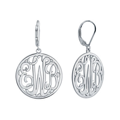 Personalized Sterling Silver Monogram Drop Earrings