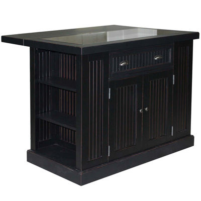 Atlantic Bay Drop-Leaf Kitchen Island w/ Granite Inlay