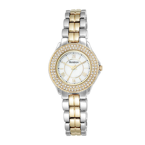 Armitron® Womens Crystal-Accent Two-Tone Bracelet Watch 75/5332MPTT