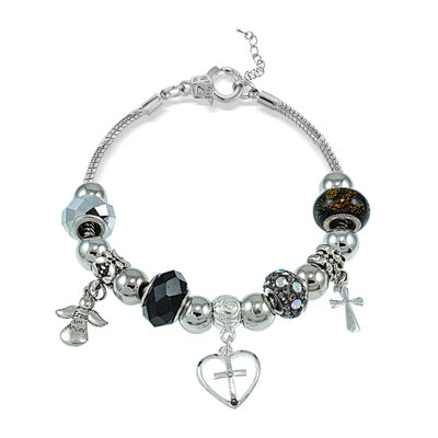 Dazzling Designs™ Artisan Glass Bead Cross and Angel Bracelet
