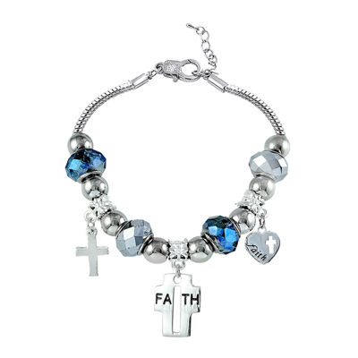 Dazzling Designs™ Blue Artisan Glass Bead Cross Faith Bracelet