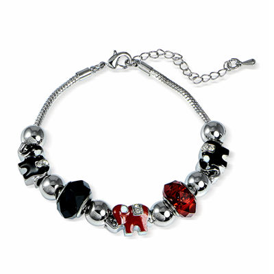 Dazzling Designs™ Red and Black Artisan Glass Bead Elephant Bracelet