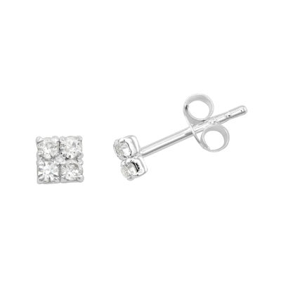 itsy bitsy™ Crystal Sterling Silver Square Cluster Stud Earrings