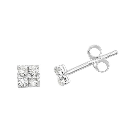 Itsy Bitsy Crystal Sterling Silver Square Cer Stud Earrings