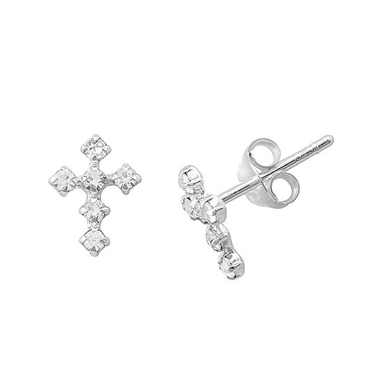 Itsy Bitsy Crystal Sterling Silver Cross Earrings