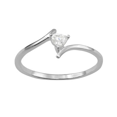 itsy bitsy™ Heart-Shaped Cubic Zirconia Sterling Silver Bypass Ring