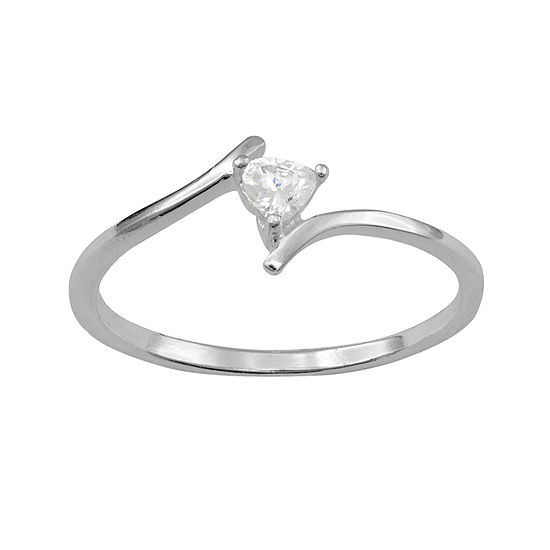 Itsy Bitsy Heart Shaped Cubic Zirconia Sterling Silver Bypass Ring