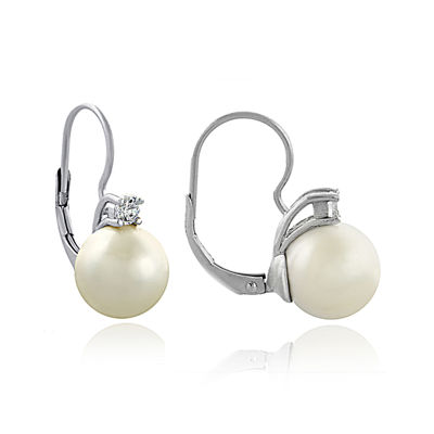 Silver-Plated Simulated Pearl and Cubic Zirconia Earrings
