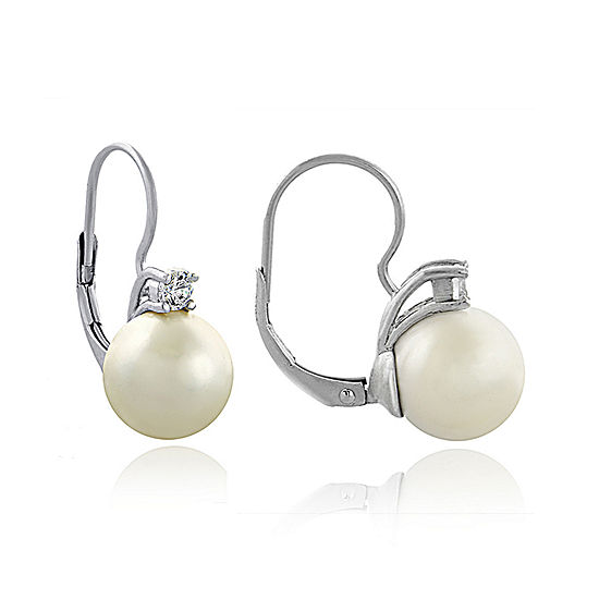 Silver Plated Simulated Pearl And Cubic Zirconia Earrings