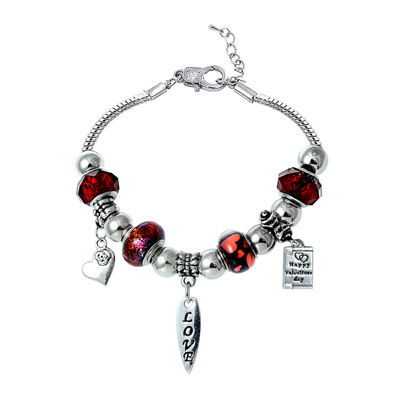 Dazzling Designs™ Red Artisan Glass Bead Silver-Plated Heart Bracelet