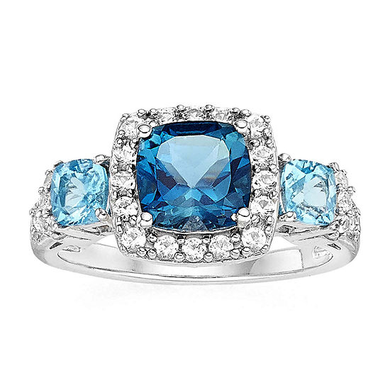 Genuine Blue Topaz and Lab-Created White Sapphire Sterling Silver Ring