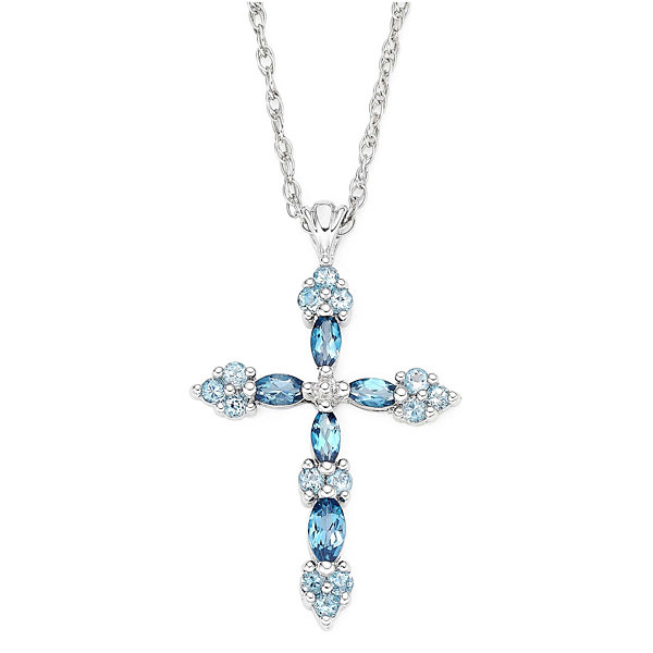 Genuine Blue Topaz Sterling Silver Cross Pendant Necklace