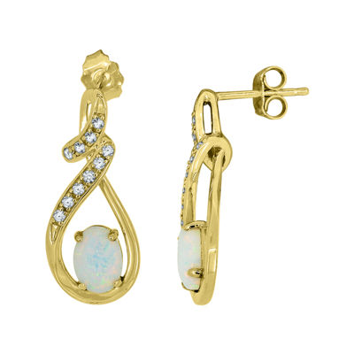 Lab-Created Opal & Lab-Created White Sapphire 14K Yellow Gold Over Silver Infinity Earrings