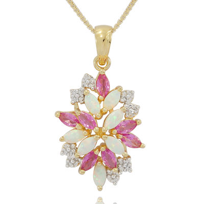14K Gold Over Silver Lab-Created Opal & Pink and White Lab-Created Sapphire Cluster Pendant Necklace