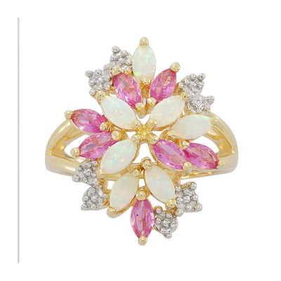 Lab-Created Opal & Pink and White Lab-Created Sapphire Cluster Ring