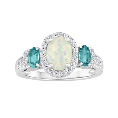Lab-Created Opal, White Sapphire and Genuine Blue Topaz Sterling Silver Ring