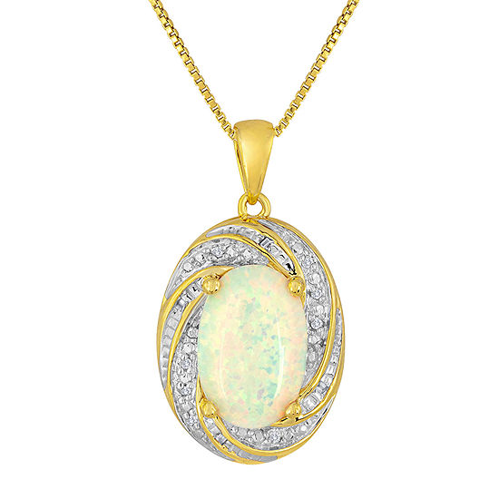 Lab-Created Opal and Diamond-Accent 14K Yellow Gold Over Sterling Silver Pendant Necklace