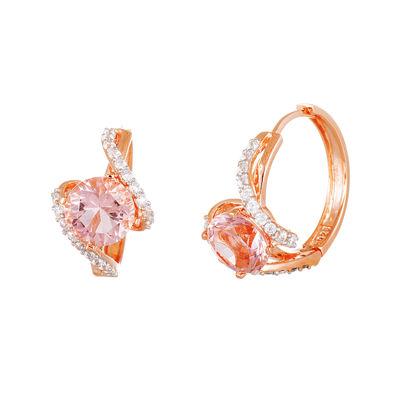 Simulated Morganite 18K Rose Gold Over Sterling Silver Earrings