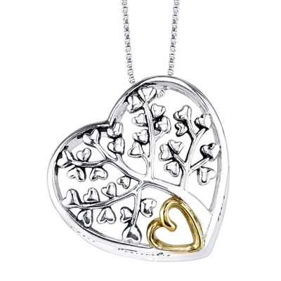 Inspired Moments™ Sterling Silver Family Tree/Heart Pendant Necklace