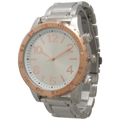 Olivia Pratt Womens Silver Tone Bracelet Watch-14200silver Rose