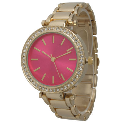 Olivia Pratt Womens Gold Tone Bracelet Watch-14202hot Pink