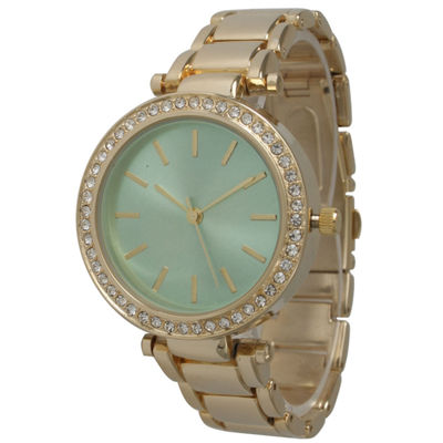 Olivia Pratt Womens Gold Tone Bracelet Watch-14202mint