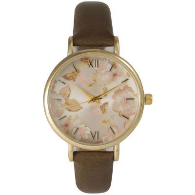Olivia Pratt Womens Brown Strap Watch-15828bronze