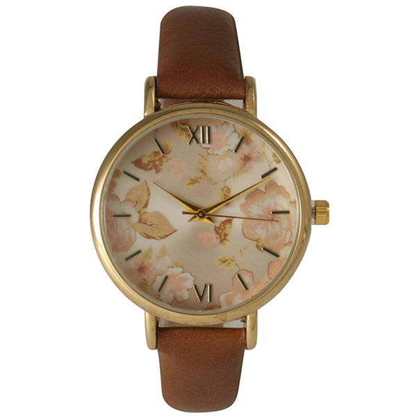 Olivia Pratt Womens Brown Strap Watch-15828brown