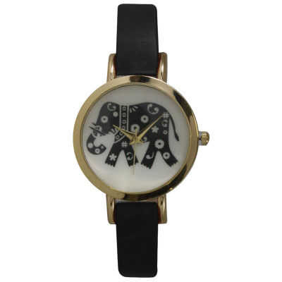 Olivia Pratt Womens Black Strap Watch-20378blackelephant