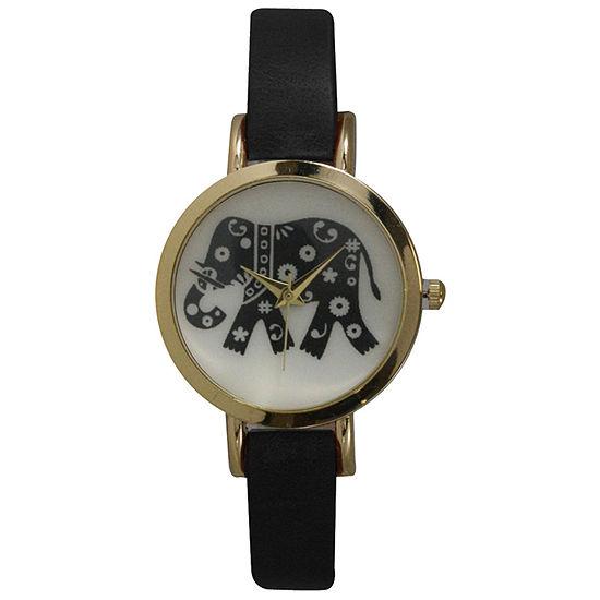 Olivia Pratt Womens Black Leather Strap Watch-20378blackelephant