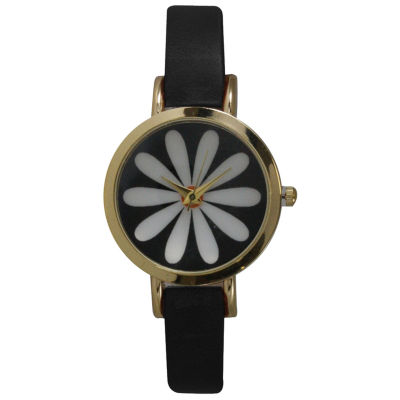 Olivia Pratt Womens Black Strap Watch-20378blackflower
