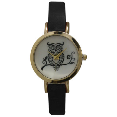 Olivia Pratt Womens Black Strap Watch-20378blackowl