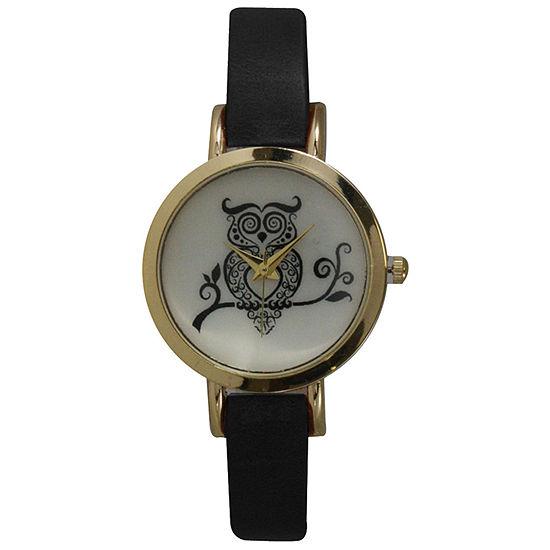 Olivia Pratt Womens Black Leather Strap Watch-20378blackowl