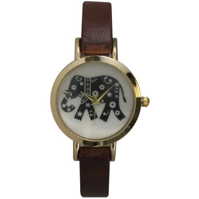 Olivia Pratt Womens Brown Strap Watch-20378darkbrownelephant