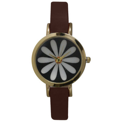 Olivia Pratt Womens Brown Strap Watch-20378darkbrownflower