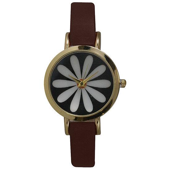 Olivia Pratt Womens Brown Leather Strap Watch-20378darkbrownflower