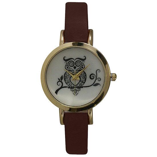 Olivia Pratt Womens Brown Leather Strap Watch-20378darkbrownowl