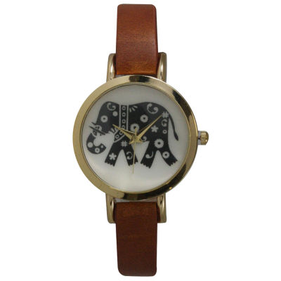 Olivia Pratt Womens Brown Strap Watch-20378lightbrownelephant