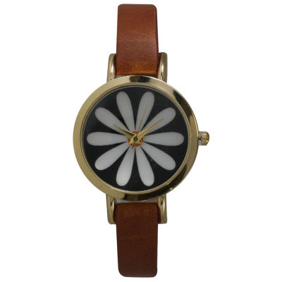 Olivia Pratt Womens Brown Strap Watch-20378lightbrownflower