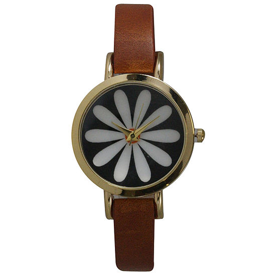 Olivia Pratt Womens Brown Leather Strap Watch-20378lightbrownflower